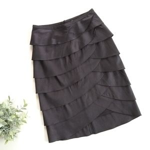 Cachet • black tiered ruffle pencil skirt